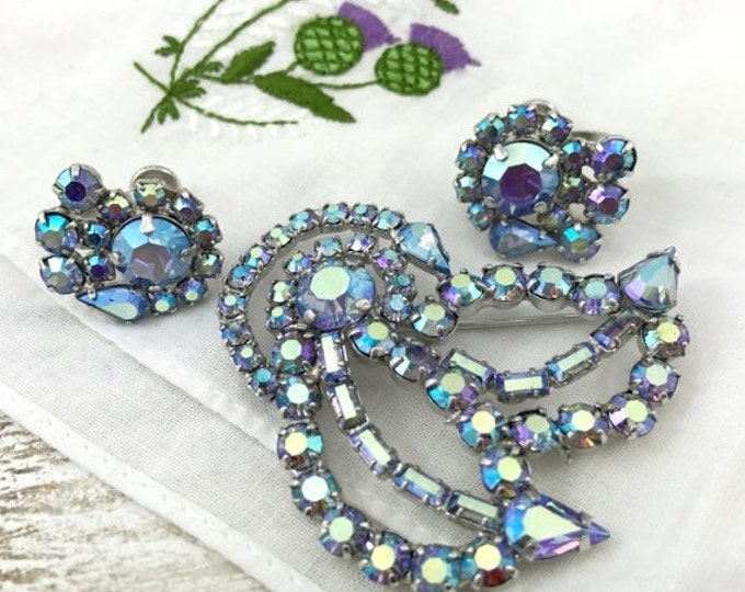 50% OFF Vintage Jay Kel Rhinestone Brooch & Earrings. Purple Blue Aurora Borealis Brooch with Vibrant Aqua Blue Swavorsky Crystal Rhinestone