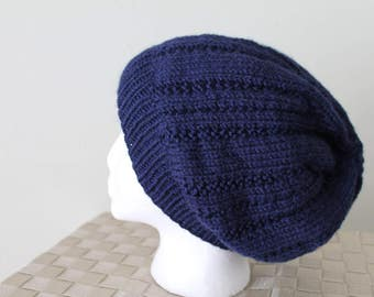 Knit Slouchy Hat - Beanie - Winter Toboggan Hat - Navy Blue - Men's or Women's