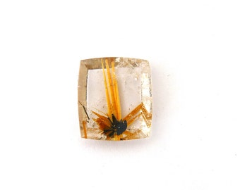 Gold Rutilated Star Quartz Gold Rutile Designer Cabochon Gemstone 11.2x16.1x5.4 mm 9.2 carats Free Shipping