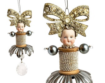 Great Gatsby Girl (10), original altered art doll, mixed media assemblage, doll head ornament, by Elizabeth Rosen