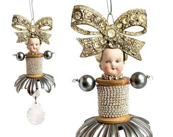 Great Gatsby Girl (10), original altered art doll, mixed media assemblage, doll head ornament, by Elizabeth Rosen