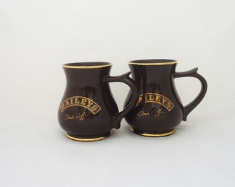 Vintage Pair of Irish Coffee Mugs, Baileys and Coffee Mugs, Ceramic Irish Coffee Mugs