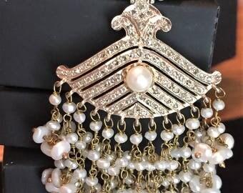 Sale Victorian earrings 18k Gold 3.25ct Diamond Freshwater Pearl 4.5 inch long Chandelier Tassel Earrings