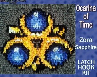 Zora Sapphire - Spiritual Stone of Water - Legend of Zelda: Ocarina of Time - DIY Latch Hook Kit 9*9.5 Inches