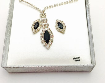 Earrings and Necklace Set, Silver Tone, Clear & Blue Rhinestones, Vintage Fine Jewelry, Item No. M118