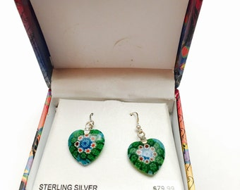 Vintage green heart earrings, Sterling silver, mint condition still in original box, item no M405