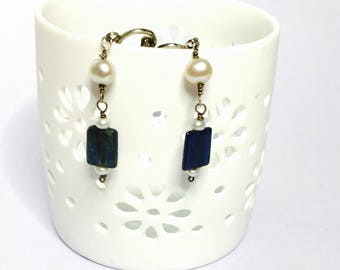 Vintage Clip On Earrings, lapis, faux pearls, silver tone, Clearance Sale, Item No. S195
