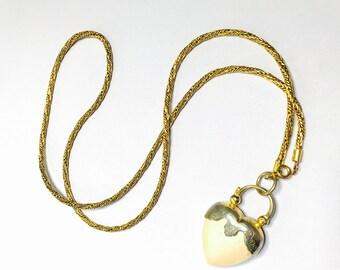 Vintage heart Pendant/Necklace, gold tone necklace, Romantic Gift idea, Item No. S274