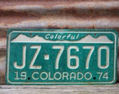 Vintage License Plate COLORADO Vintage 1974 Green & White Colorful Distressed Aged Car Auto Hot Rod Rat Rod Old Metal License Plate Sign