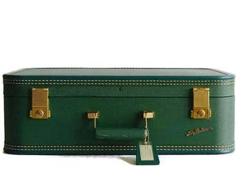 vintage suitcase with key forest green Lady Baltimore 1950s travel luggage