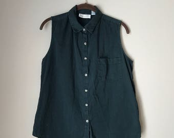 Vintage Faded Black Sleeveless Collared Button Down Shirt Size L
