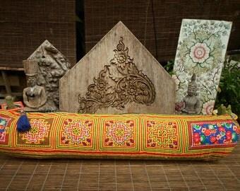 Yoga Mat Bag ,Hmong Textile Bag, Vintage Cross Stitch Embroidery, Hand Batik Textile Bag, Hand made Yoga Mat Bag