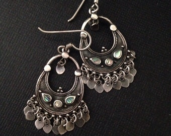 Sterling and abalone chandelier earrings