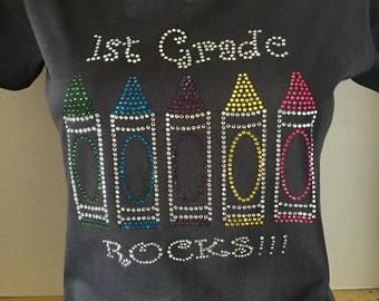 1st Grade Rocks (Crayons) Custom Bling T-Shirt