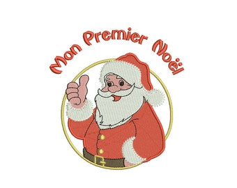 Instant download my first christmas Santa Claus embroidery design machine download