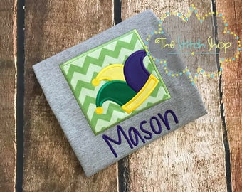 Mardi Gras Jester Patch Appliqued and Monogrammed Shirt