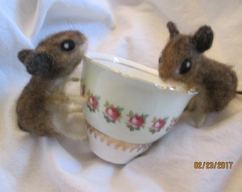 """needle felt mice pair Custom made by Hannah S fully posable  and life size 3"""" long w/o tail 1.5"""" wide  sold as a pair easter gift, wedding"""
