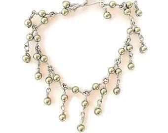 Pearl bracelet, Handmade Sage pearl bracelet, green pearl Sterling silver charm bracelet, sterling silver, pearls