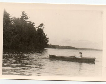Rowboat On The Water People Swimming Vintage Snapshot Boat Photo Boating Black And White Scenic Photography Paper Ephemera