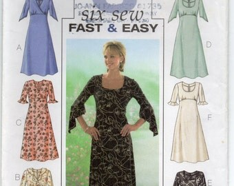 Slightly Flared Below Knee Length Dress With Raised Waist Back Zipper Size 6 8 10 Sewing Pattern 2003 Fast And Easy Butterick 4063