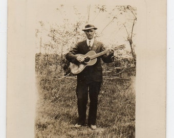 Inkerman West Virginia 1934 Musician With Guitar Antique Snapshot Musical Instrument Vintage Photo Music Memorabilia Photograph Of A Man