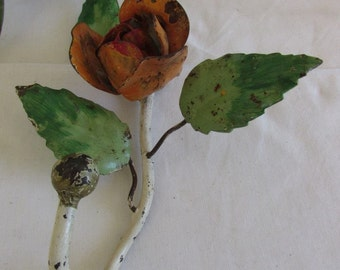 Antique, vintage French lovely shabby tole-ware metal hook.