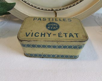 Vintage French old tin Pastilles Vichy Etat.  Display and collectible.  Country cottage chic