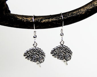 Brain Earrings - Brains - Anatomical Brain Earrings in Silver - Anatomy Jewelry