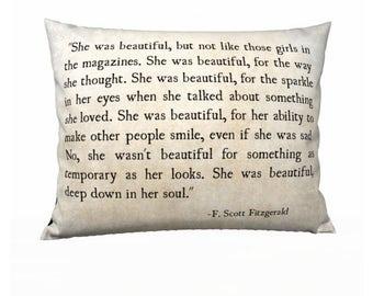She Was Beautiful, F. Scott Fitzerald Quote, Love Quote, Velveteen Pillow Cover, Romantic Quote, Bedroom Decor, Home Decor Bedroom Decor