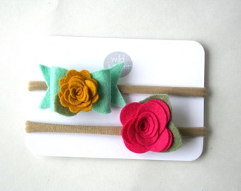Baby Girl Headband Set - Mint Felt Bow and Fuchsia Flower