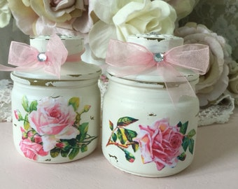Shabby Glass Canister Set, Storage Jars with pink roses, Shabby Cottage chic, Kitchen jars, bathroom, craft room, Vanity Jars, fanny pippin