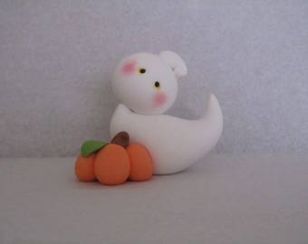 Polymer Clay Ghost and Pumpkin