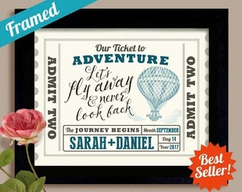 Hot Air Balloon Wedding Ticket Personalized Wedding Gift Ideas Adventure Awaits Anniversary Gift Unique Engagement Gift Newlyweds Gift