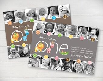 Jungle Fun Timeline 1st Birthday Invitation (Girl or Boy) - Digital File