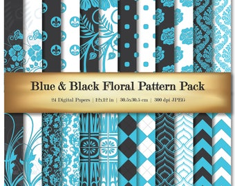Blue & Black Floral Digital Scrapbooking Paper Deluxe Bright Cyan Color Background Pattern 24 piece Set - Commercial Use OK