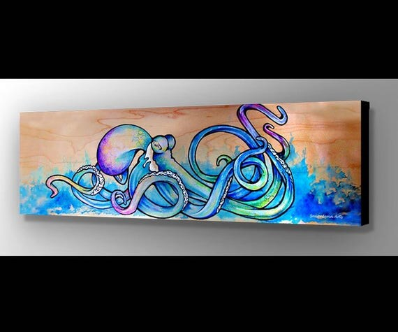 blue octopus art octopus wall art octopus painting. Black Bedroom Furniture Sets. Home Design Ideas