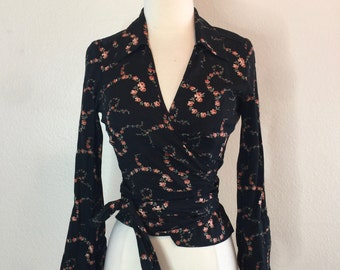 Western Floral Wrap Blouse by Earl Jean - Pinup Rockabilly Girly 50s - Pink Roses on Black