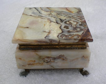 Stunning Ornex Marble and Brass Lidded Trinket Box Pakistan Jewelry Box Square Box Brass Feet Footed Box