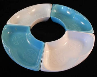Vintage Maurice California Pottery Teal Turquoise & Ivory Snack Relish Trays