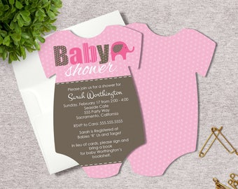 Set of 25 Die Cut Baby Girl Pink Elephant Shower Invitations