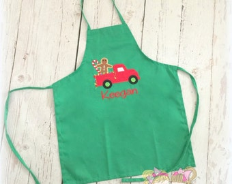Kids Christmas apron - Boys Christmas apron with red truck - Holiday apron - personalized Christmas apron for kids - custom kids apron