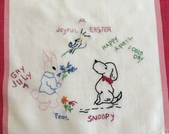 Vintage Snoopy Towel -- Celebration Towel -- 1960's -- Handcrafted
