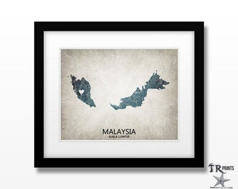 Malaysia Map Art Print - Home Is Where The Heart Is Love Map - Original Custom Map Art Print Available in Multiple Size and Color Options