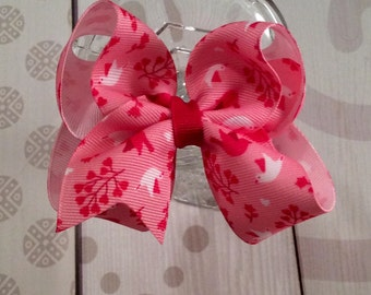 Pink hair bow, Valentine's Day hair clip, pink and red hair bow, love hair bow, love birds hair bow