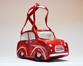 Vintage Lipstick Red Car Handbag Kitsch Purse Vinyl Beetle Bag