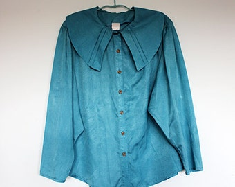 Vintage Blue Oversized Large Cape Collar Blouse