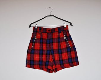 Vintage Tartan Red and Blue Plaid High Waist Wool Shorts