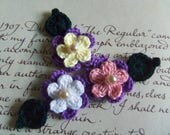 Small Crochet Flowers and Leafs Appliques. Handmade Crochet Flowers and Leafs Appliques.