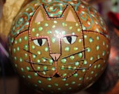 Decorative Hand Painted Orange Green Dotted Kitty Cat Shatterproof Ball Ornament