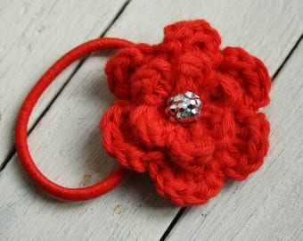Crochet Flower Hair Elastic in Pillar Box Red with Silver Coloured Bead